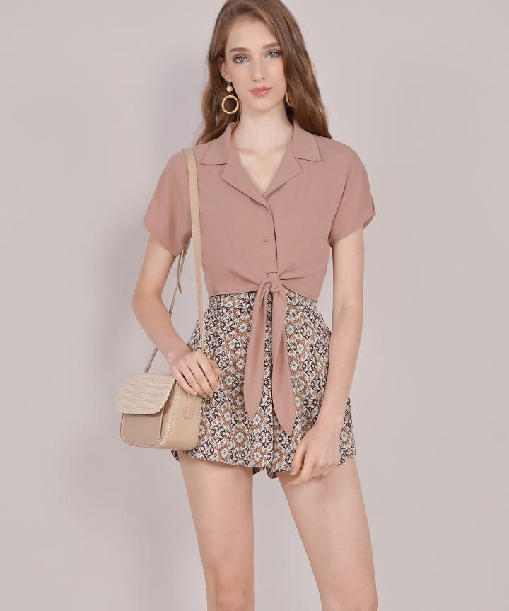 Samaria Motif Shorts - Brown