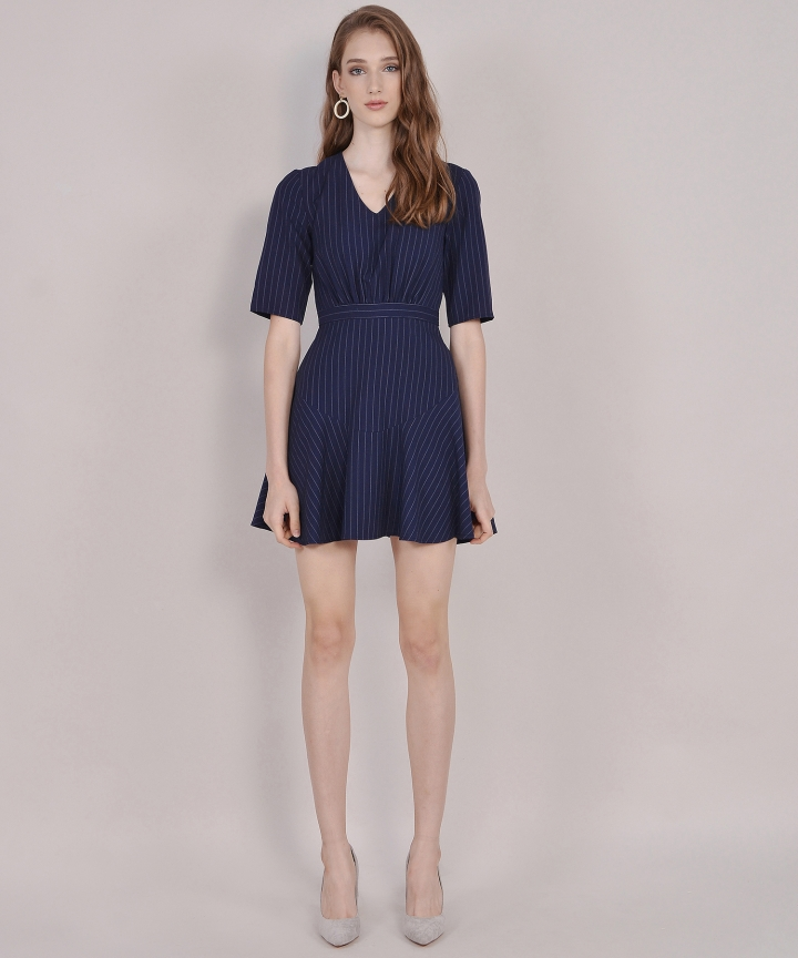 Kira Striped Dress - Navy