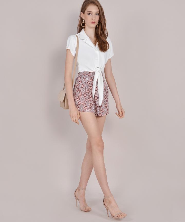 Samaria Motif Shorts - Wine