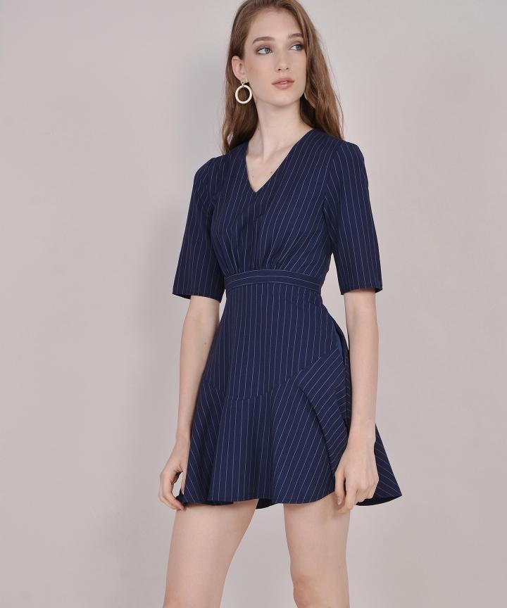 Kira Striped Dress - Navy