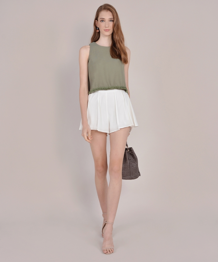 Twain Cropped Top - Dust Olive