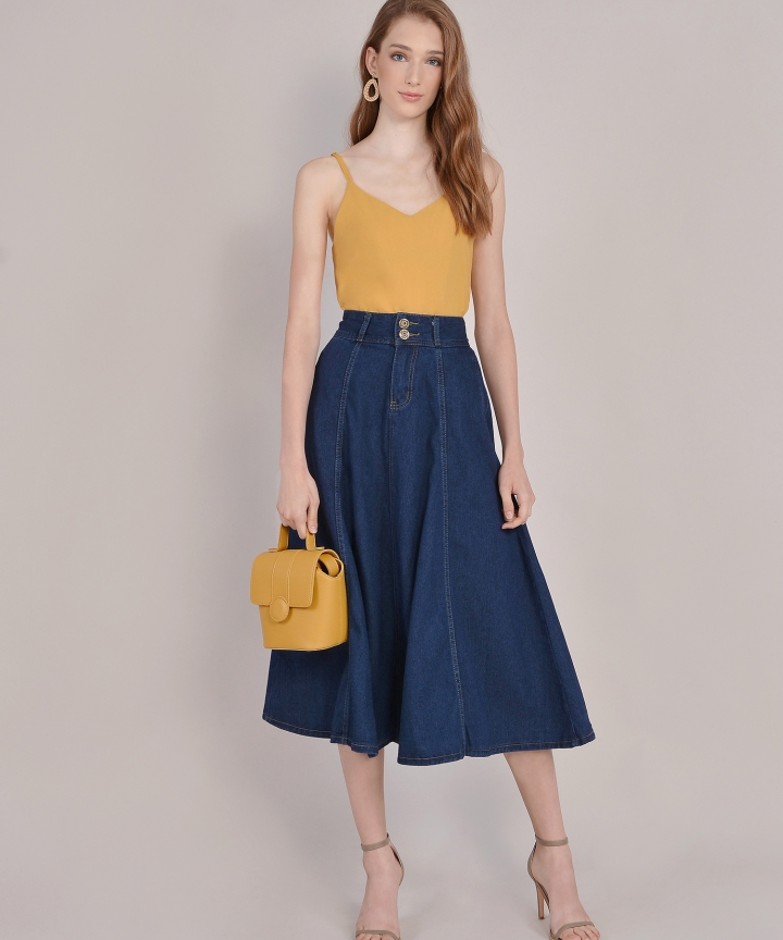 Rodeo Denim Midi Skirt - Dark Blue