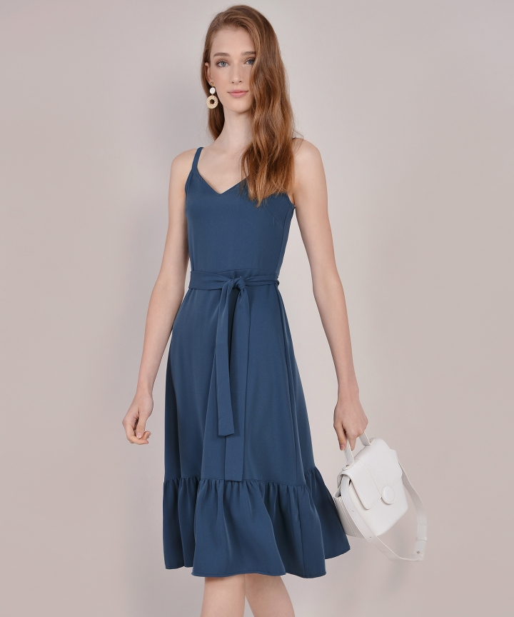 Chelsea Ruffled Midi - Yale Blue