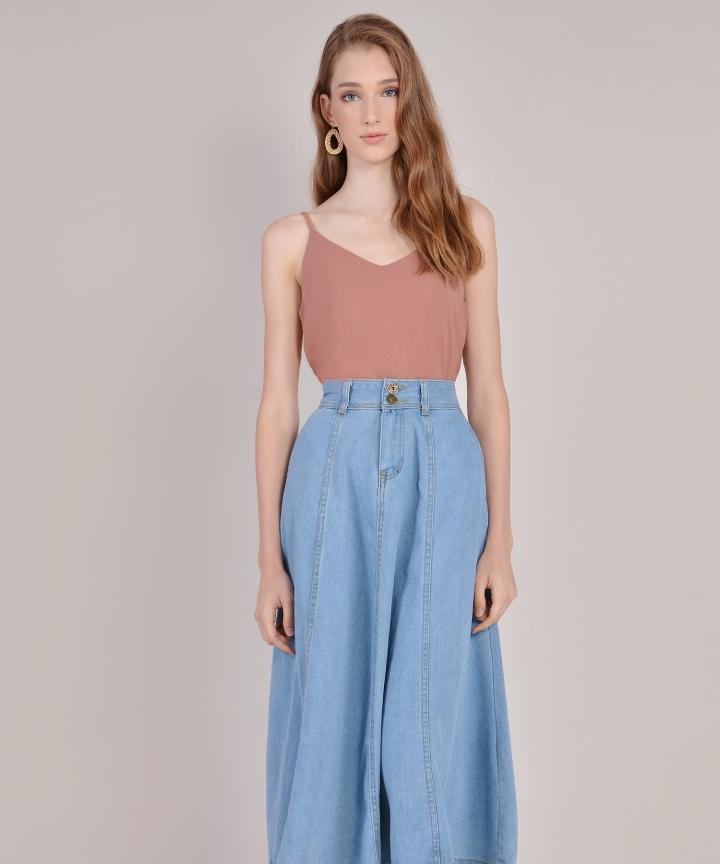 Rodeo Denim Midi Skirt - Light Blue