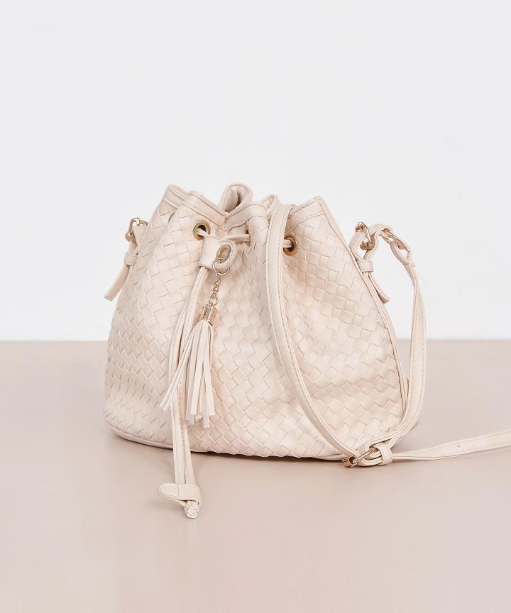 Mabel Woven Bucket Bag - Ecru