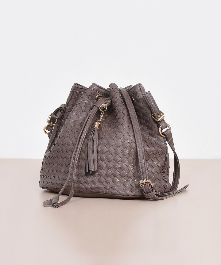 Mabel Woven Bucket Bag - Deep Taupe