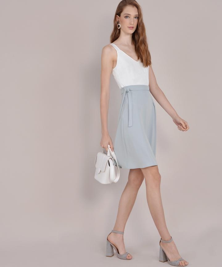 Prue Pastel Midi Skirt - Pale Grey
