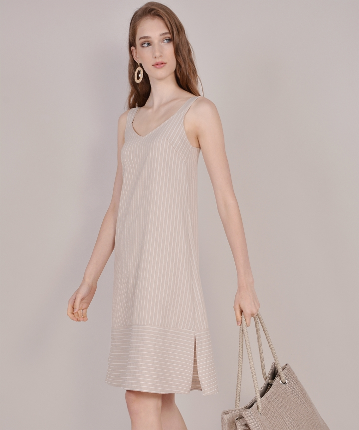 Brittany Striped Linen Midi - Tan
