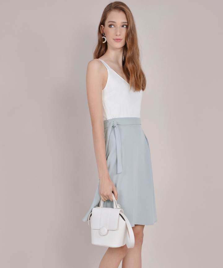 Prue Pastel Midi Skirt - Pale Grey
