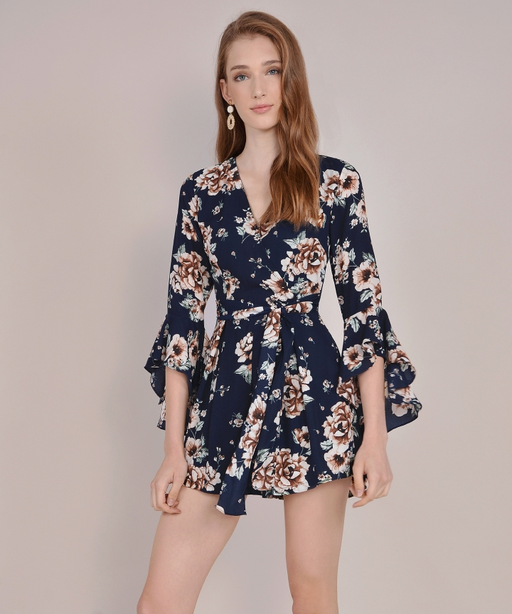 Ainsley Floral Playsuit - Midnight Blue