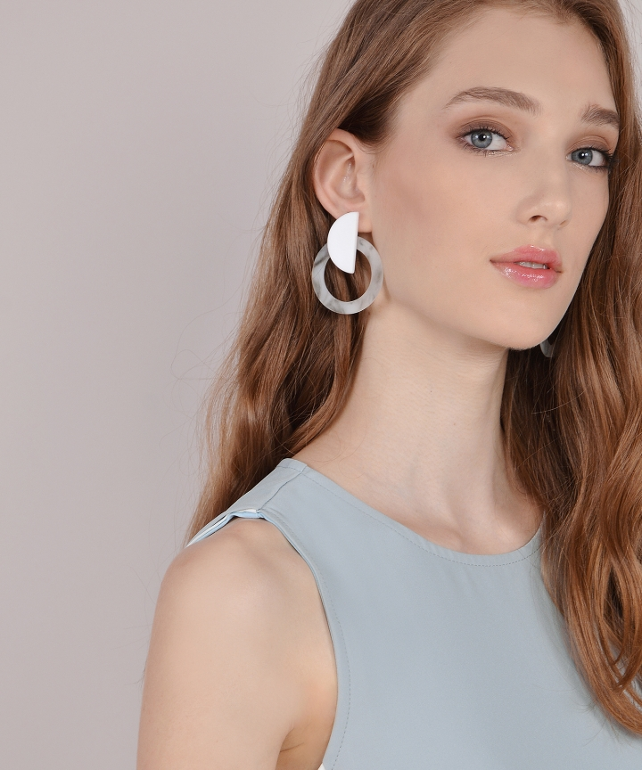 Xena Marble Hoop Earrings