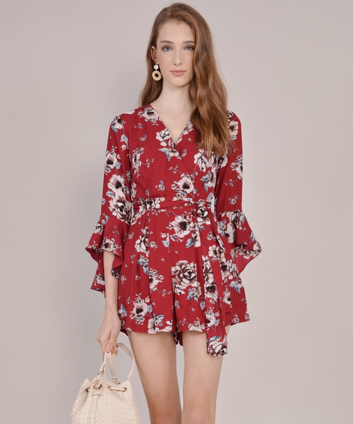 Ainsley Floral Playsuit - Carmine
