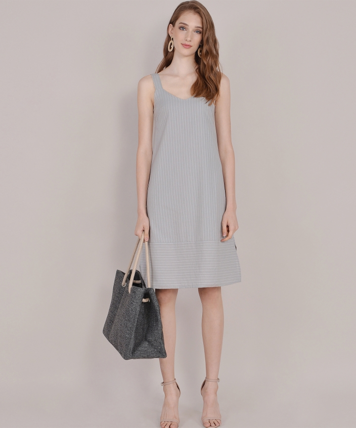 Brittany Striped Linen Midi - Grey