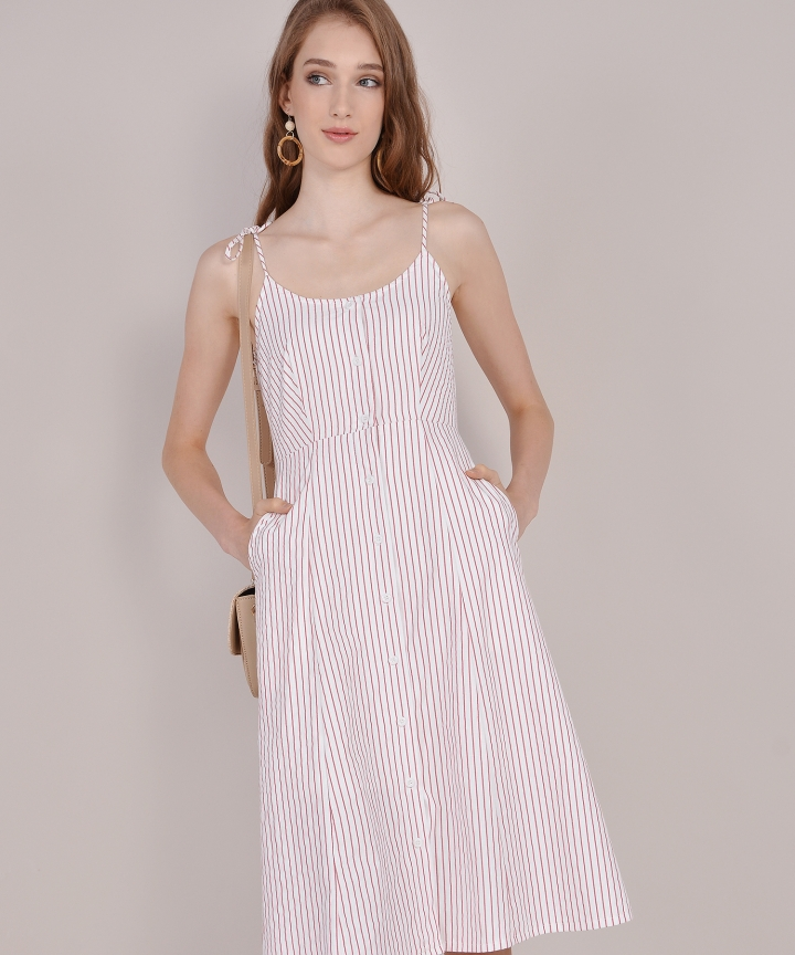 Imelda Striped Midi - Rose