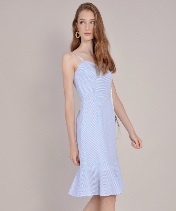 Avon Striped Midi Dress - Pale Blue