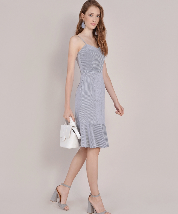 Avon Striped Midi Dress - Dark Grey