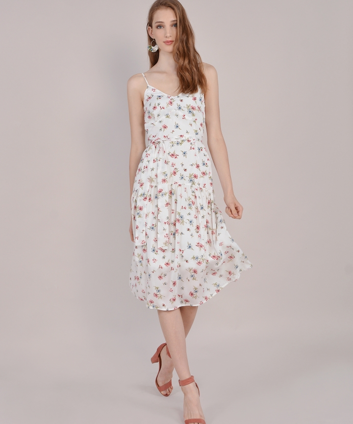 Arabella Floral Midi - White