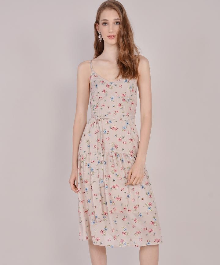 Arabella Floral Midi - Nude
