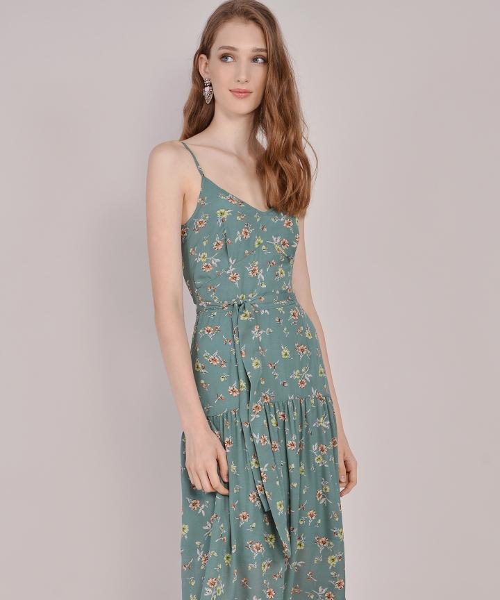Arabella Floral Midi - Jade