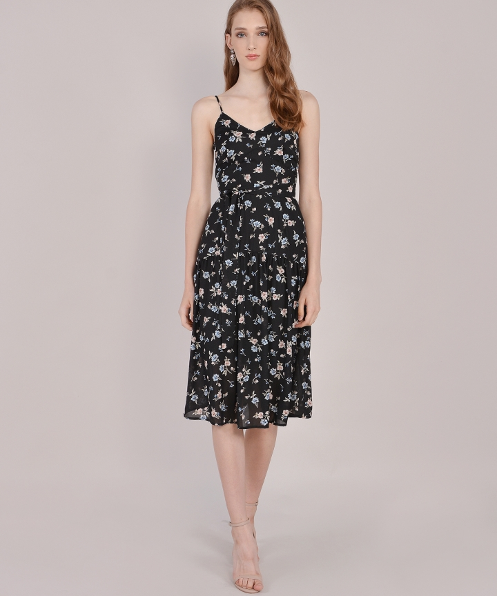 Arabella Floral Midi - Black