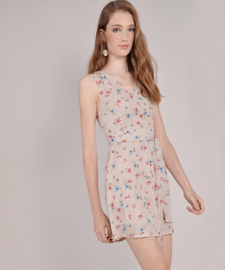 Arabella Floral Dress - Nude