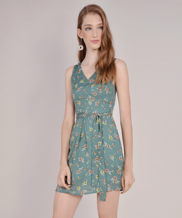 Arabella Floral Dress - Jade