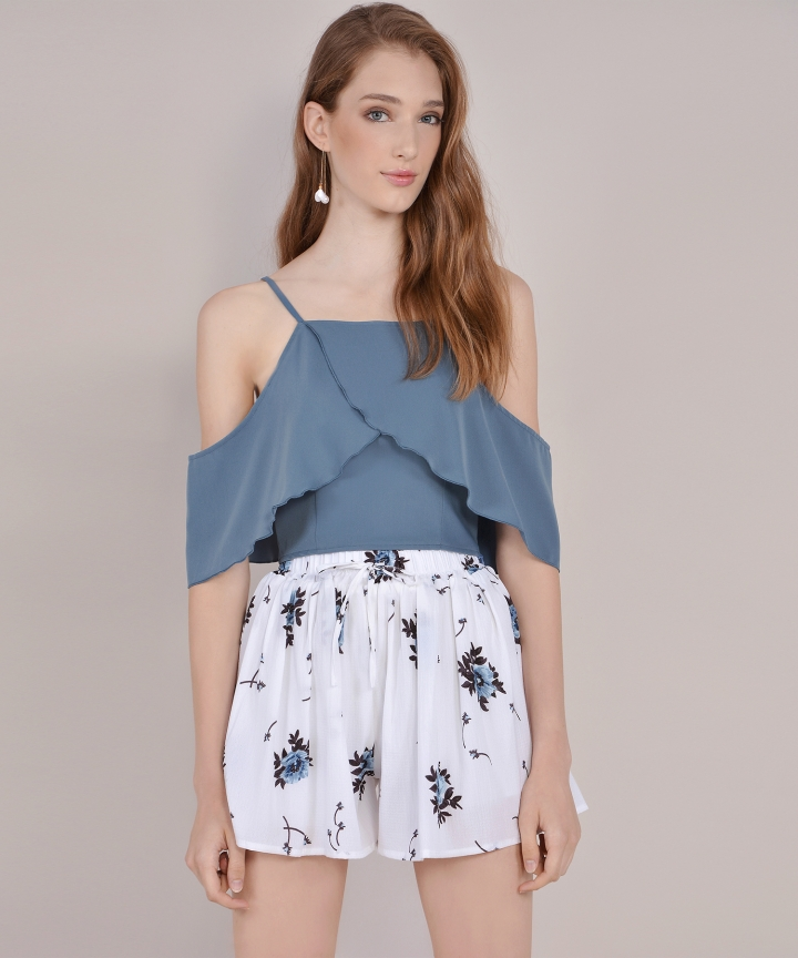 Valentina Off-Shoulder Top - Lucerne Blue