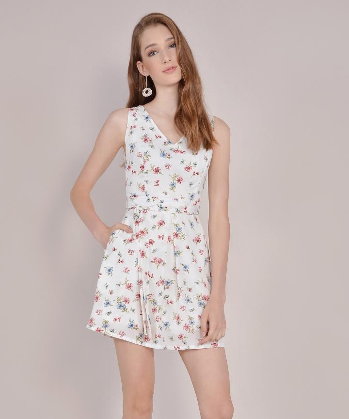 Arabella Floral Dress - White
