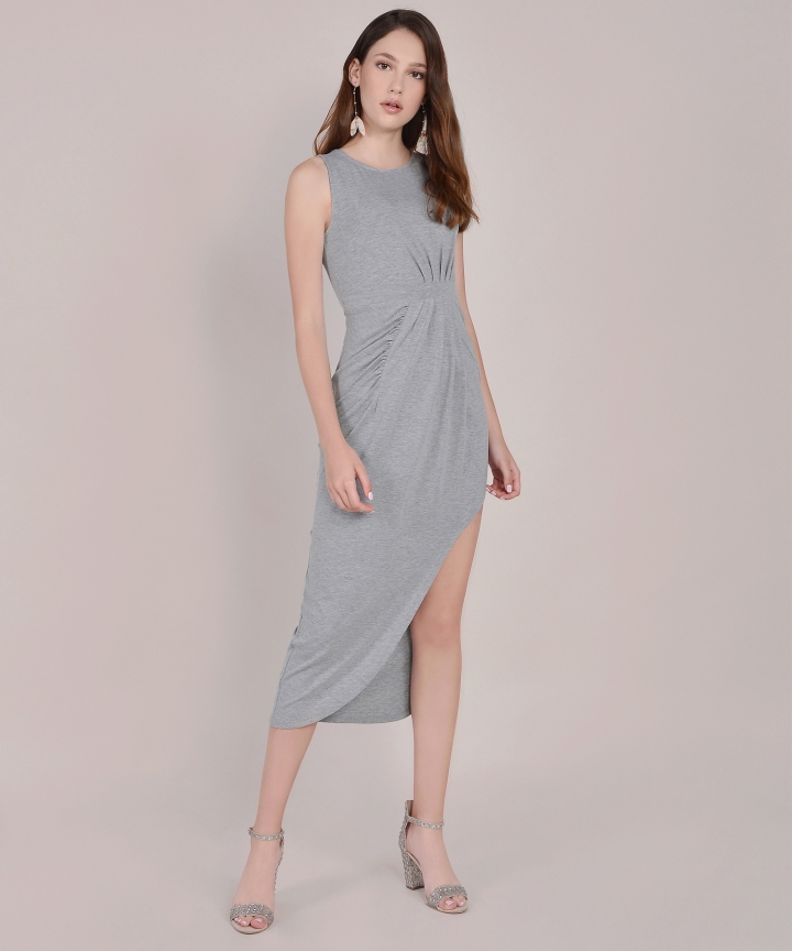 Empire Ruched Maxi - Grey