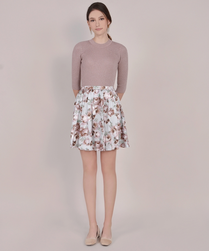 Winslet Floral Skirt - Pale Grey