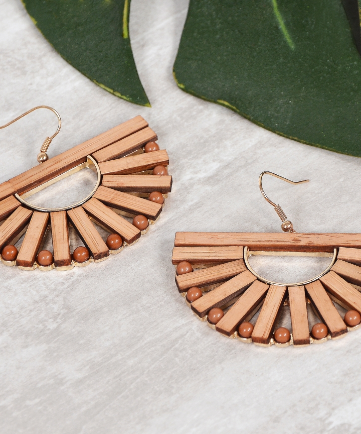 Wooden Semi Circle Earrings