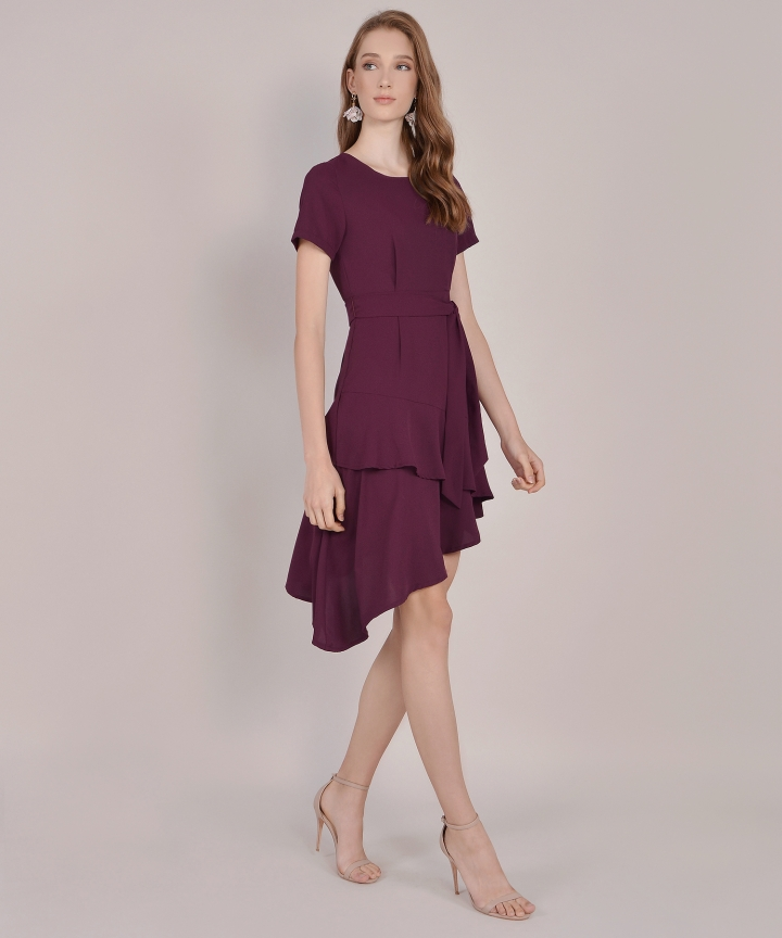 Memento Tiered Dress - Burgundy