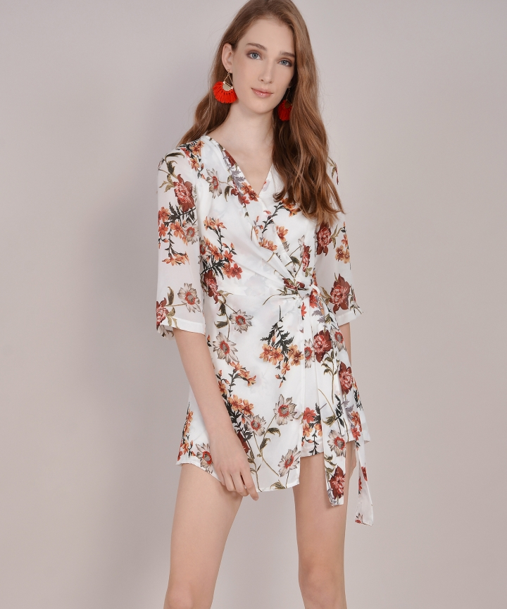 Frida Floral Playsuit - White
