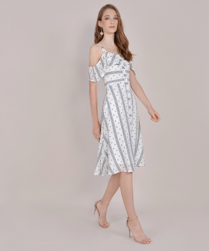 Carol Printed Dress - Navy