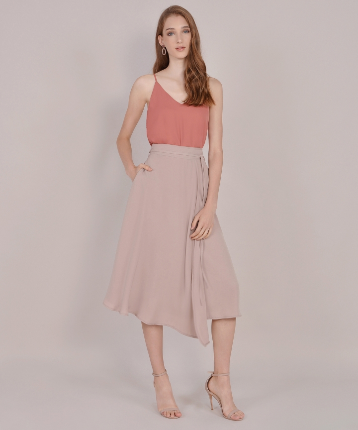 Sachi Asymmetrical Midi Skirt - Pale Mauve