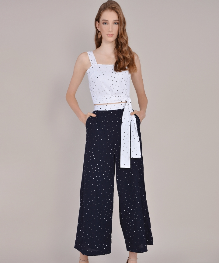 Orion Polka Dot Trousers - Navy