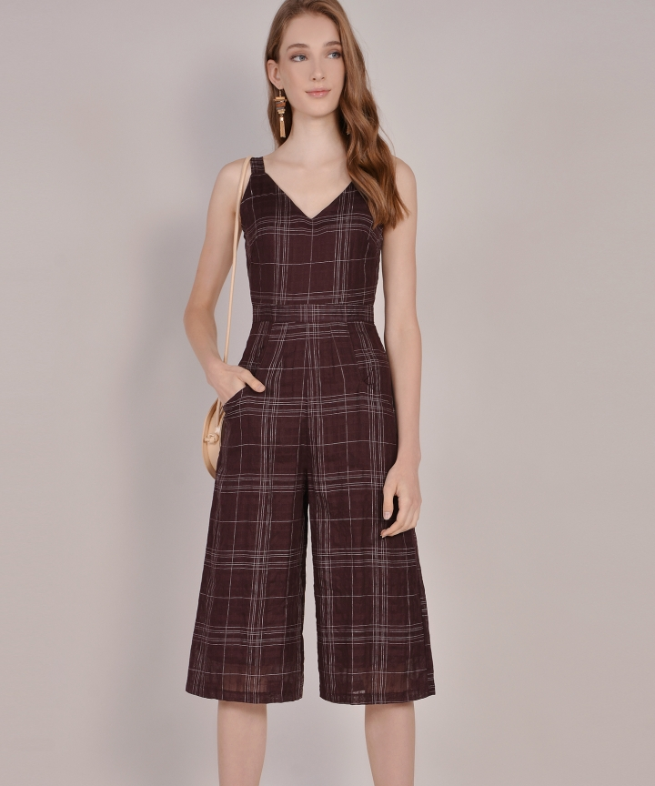 Bennett Checkered Jumpsuit - Dark Mahogany