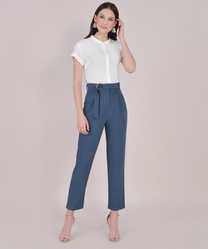 Naomi Belted Pants - Lucerne Blue