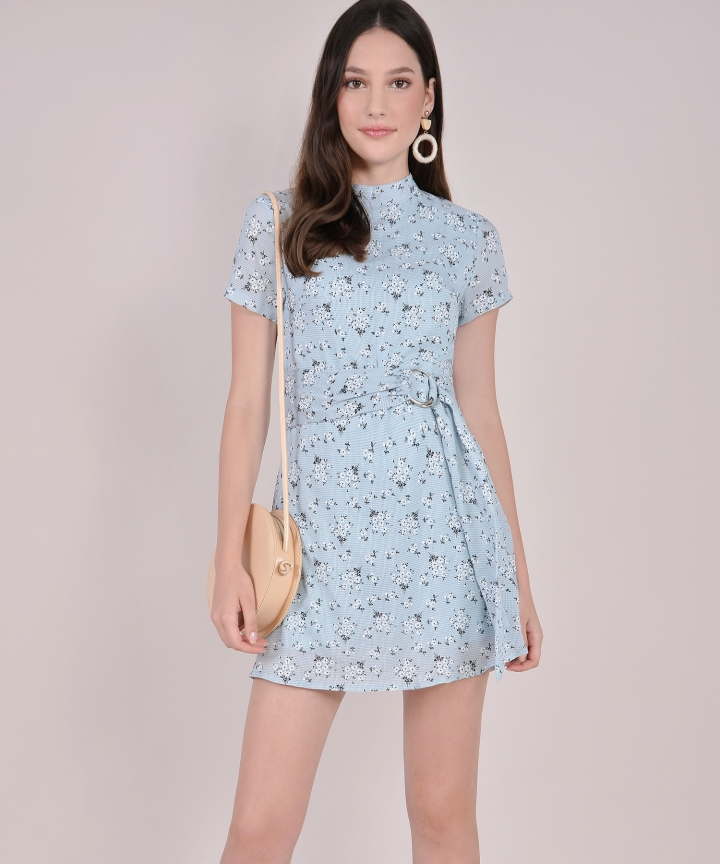 Daisy Belted Textured Playsuit - Blue