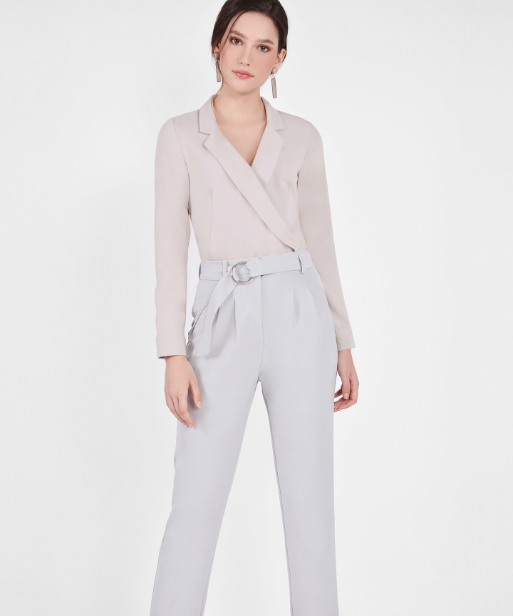 Renee Tuxedo Blouse - Pebble Grey