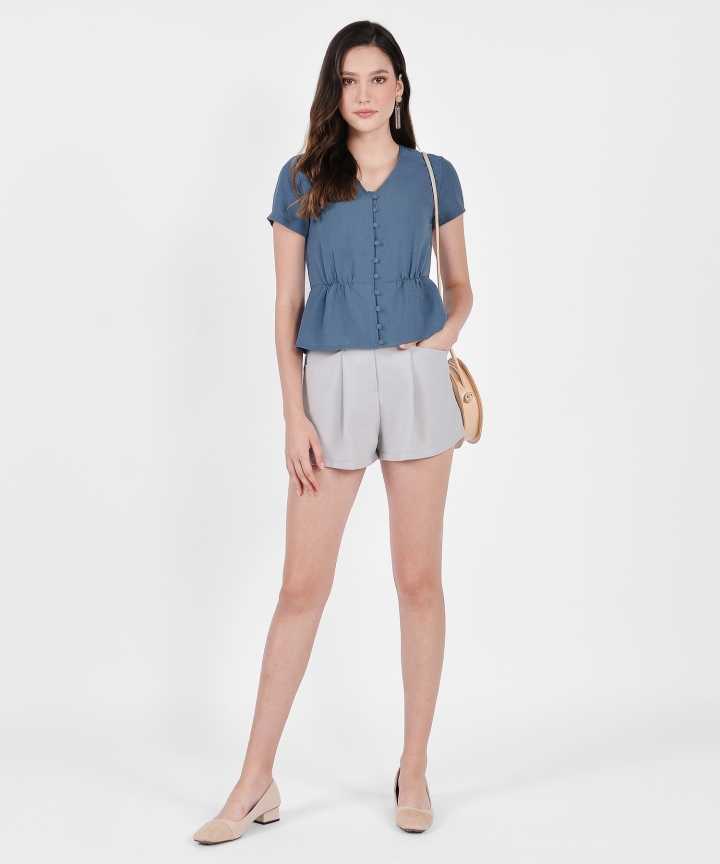 Laura Belted Shorts - Sage Grey