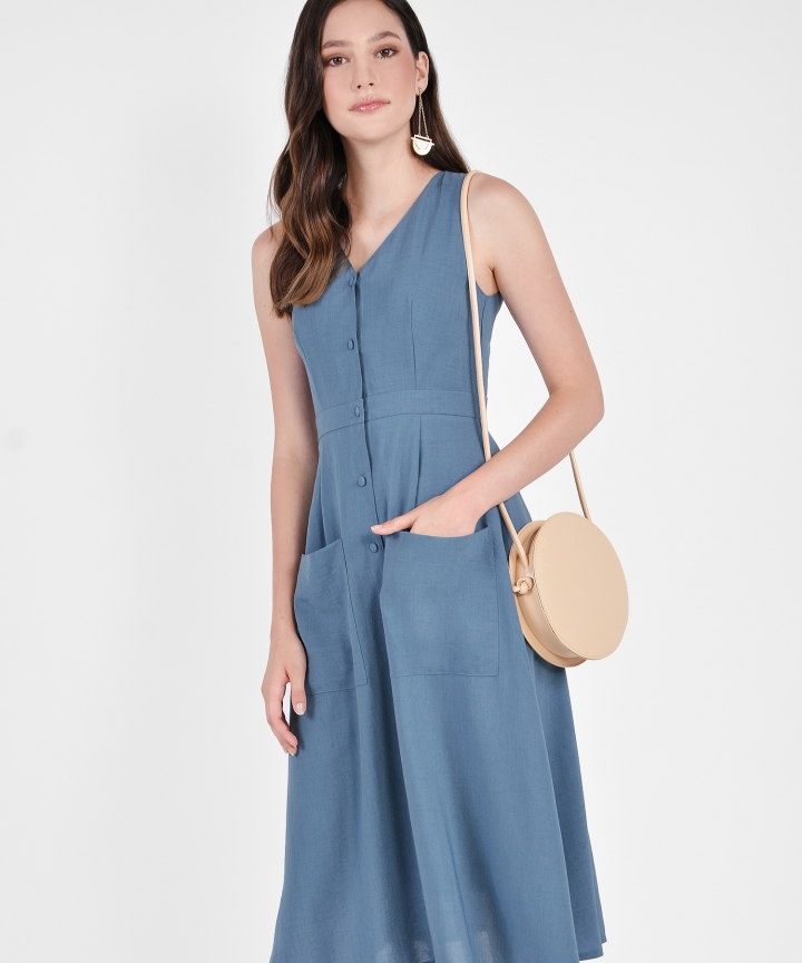 Elodie Button-Down Linen Midi - Dust Blue