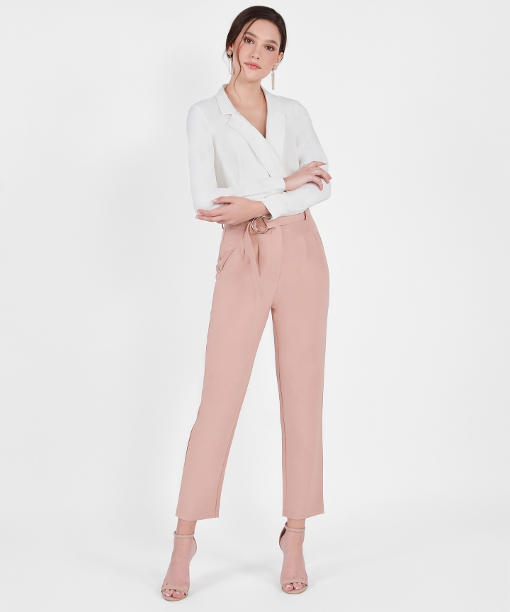 Naomi Belted Pants - Pale Terracotta