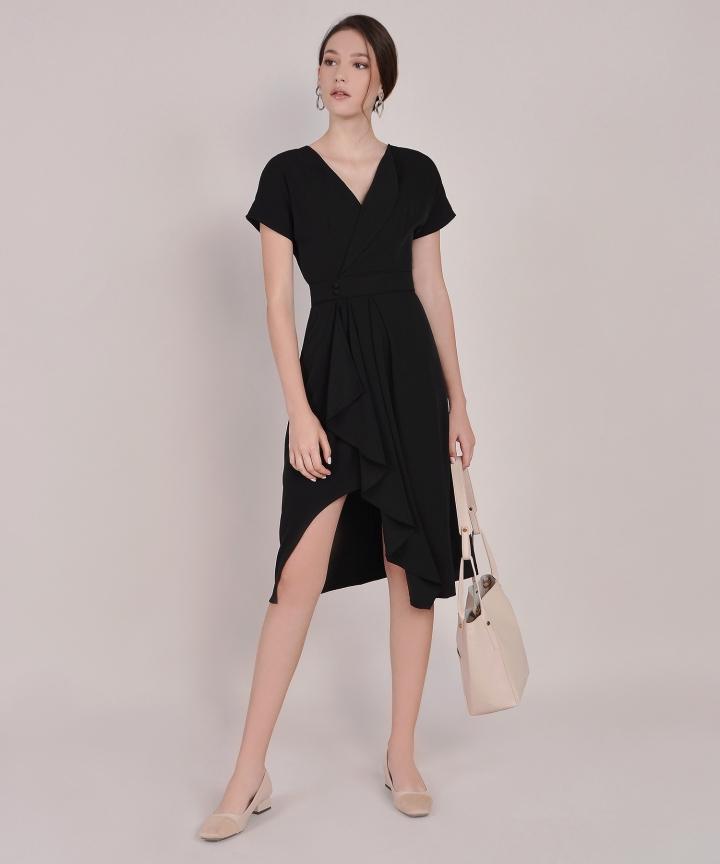 Maxine Asymmetrical Midi - Black