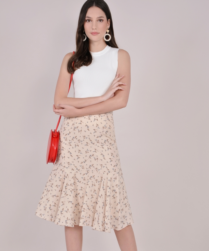 Willow Floral Trumpet Skirt - Cream