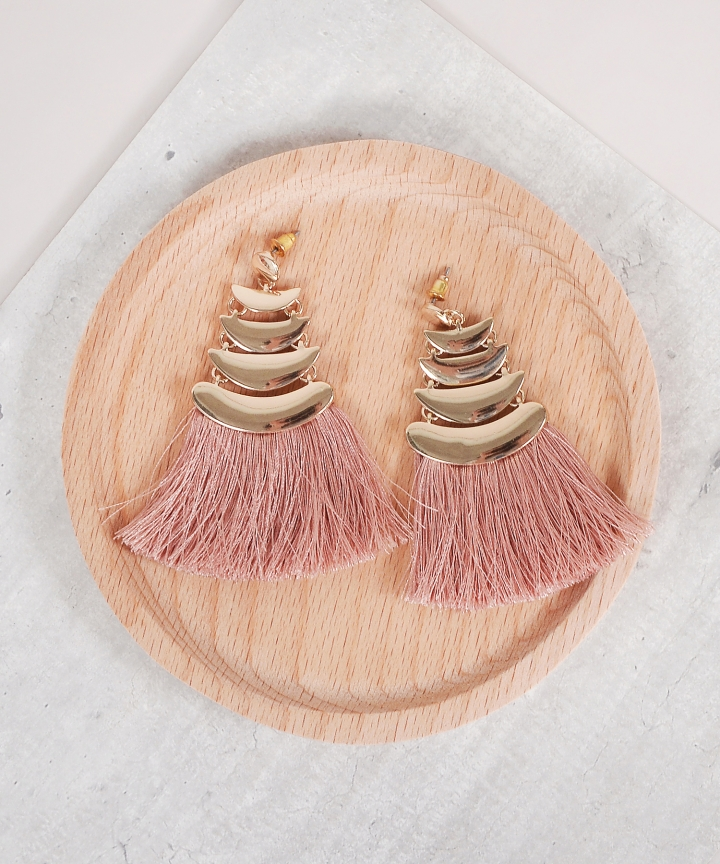 Myth Tassel Earrings - Pink