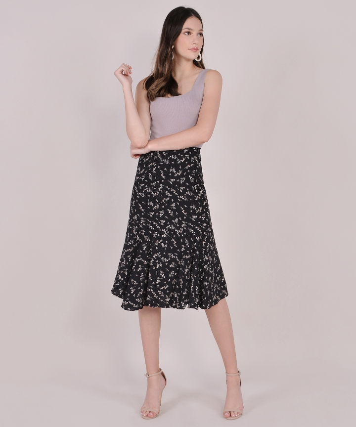 Willow Floral Trumpet Skirt - Black