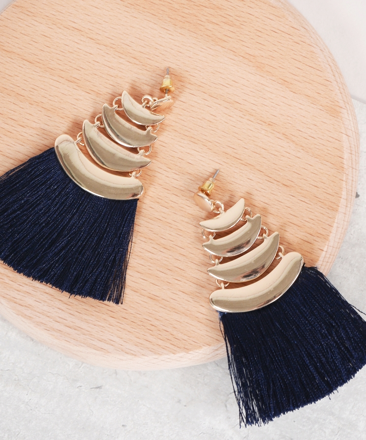 Myth Tassel Earrings - Navy