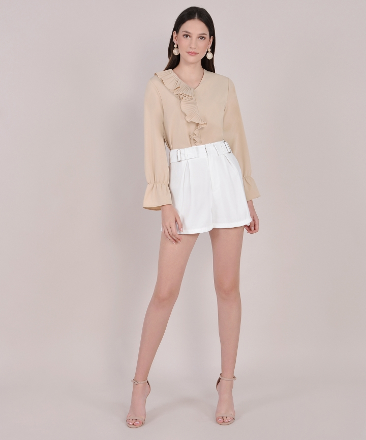 Mousse Ruffle Blouse - Nude