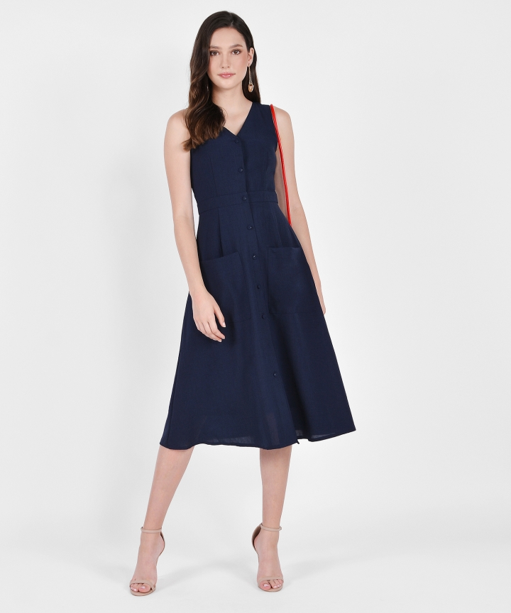 Elodie Button-Down Linen Midi - Navy